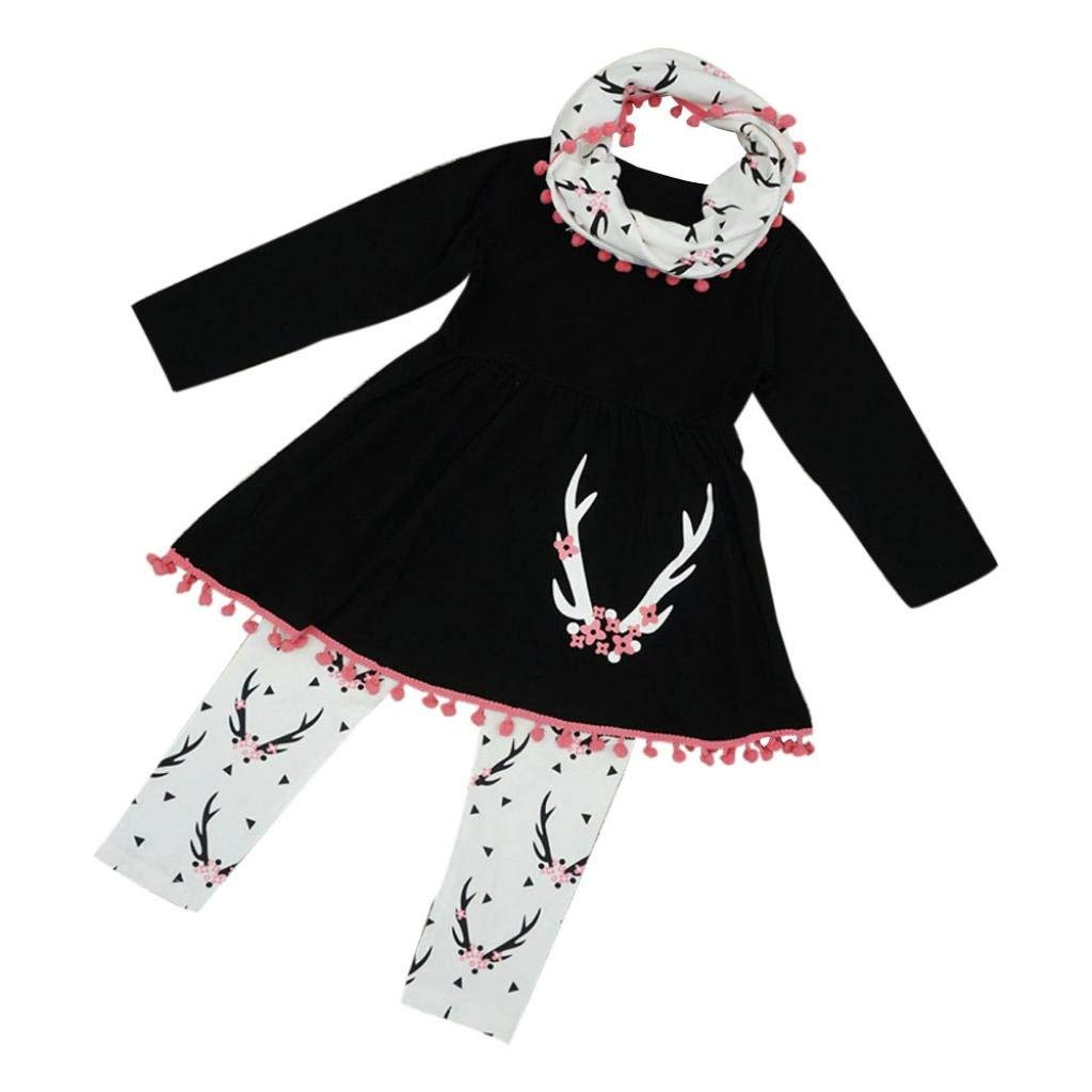 AMSKY❤Little Girls Fall Winter Wildlife Print Tunic Dress Pants with Scarf 3 Pcs Outfits Set Baby Girl Kids Clothes