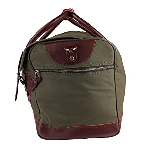 Newly Listed Viosi Balboa Leather Waxed Canvas Weekender Duffel Bag with Matching Toiletry Bag (Hunter Green)