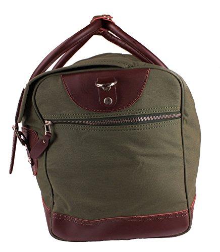 Viosi Balboa Leather Waxed Canvas Weekender Duffel Bag with Matching Toiletry Bag [Hunter Green] by Viosi (Image #2)