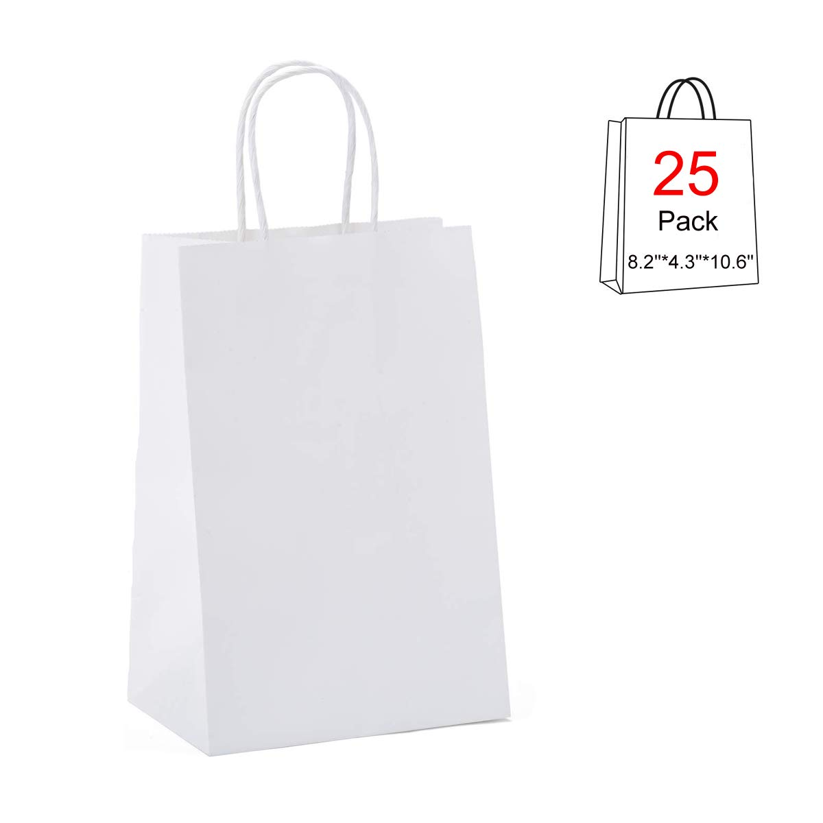 Packaging Business Acidea 12.6 * 4.3 * 9.8 White Kraft Paper Gift Bags Bulk with Handles Ideal for Shopping Craft Retail Party Gifts Goody and Merchandise Bag 25Packs Recycled Wedding