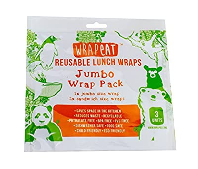 Wrapeat Reusable Jumbo Size Food Wrap Pack-x3 Multipack. For Lunch Boxes And Lunch Bags