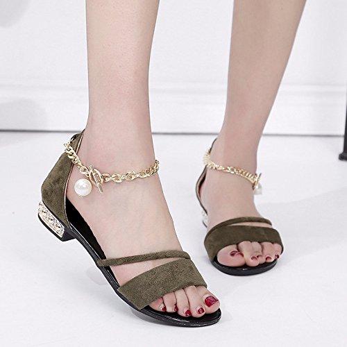asolato scarpe Base casual perla sandali con verde piana rugiada donna pacchetto tirante la XIAOGEGE sandali Il T8anqaR