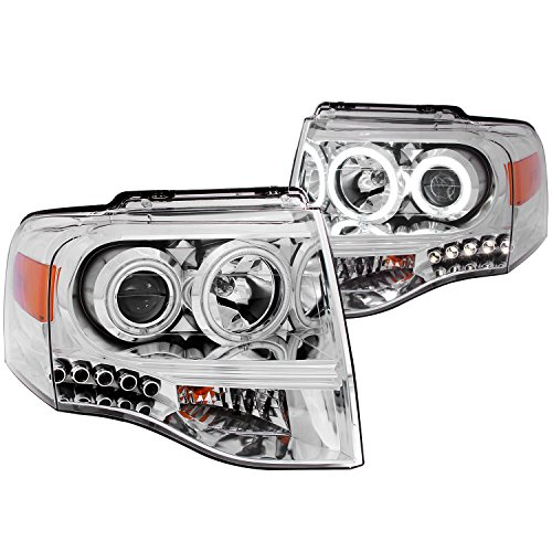 Anzo USA 111114 Ford Expedition Projector Chrome Clear Amber Headlight Assembly - (Sold in Pairs)