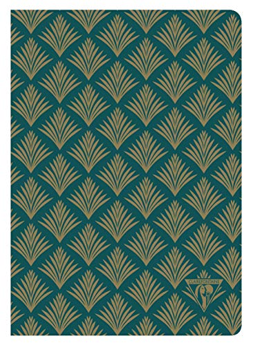 Ivory Textile - Clairefontaine 192436C - A Stitched Neo Deco Textile Notebook 14 x 21 cm 96 Lined Ivory Pages 90 g, Emerald Green Cover with Plant Motif