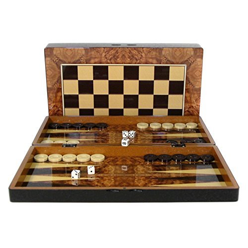 Burlwood Design Folding Backgammon Set with Chess Board by Play All Day Games