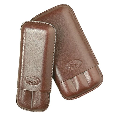 NEW 2 FINGER CIGAR CASE CUBAN CRAFTERS SIENNA BROWN LEATHER TRAVEL CIGAR ()