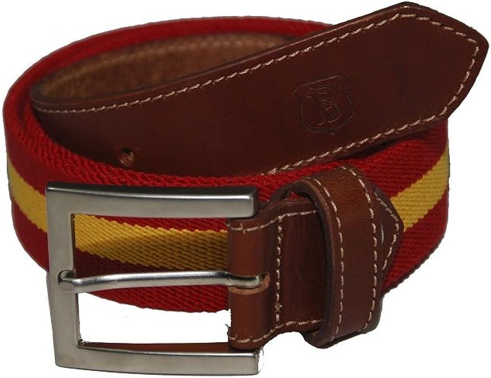 Bonake Cinturón de caballero en piel de ternera y cinta de algodón con bandera de España.: Amazon.es: Ropa y accesorios