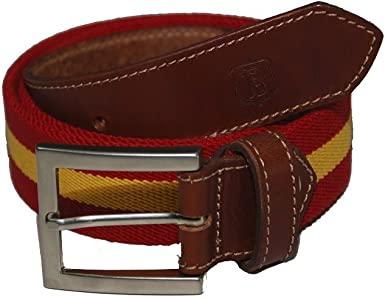 Bonake Cinturón de caballero en piel de ternera y cinta de algodón ...