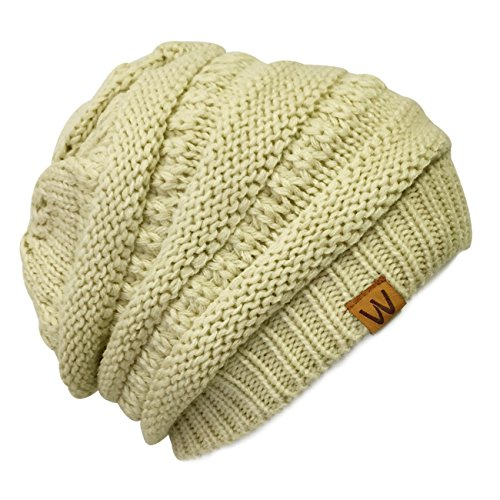 Knitted Slouchy Beanie Beret Cream