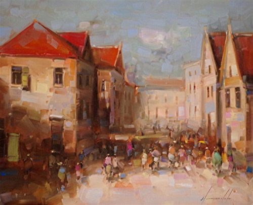 Through the Boulevard, Cityscape and Architecture, Original oil Painting, Handmade art, One of a kind, (Boulevard Kinder)