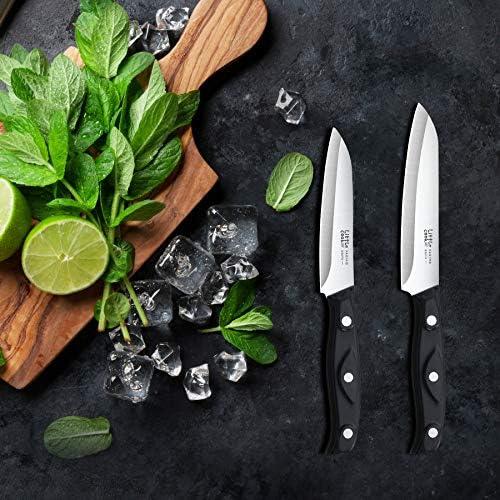 LITTLE COOK 2PCS PARING KNIFE - 3.5 INCH PEELING KNIFE - FRUIT AND VEGETABLE KNIFE ULTRA SHARP KITCHEN KNIFE - GERMAN STEEL - FULL TANG ABS HANDLE