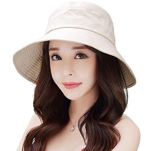 Siggi UPF50+ 100% Cotton Summer Sun Bucket Packable Foldable Wide Brim Hats for Women with Chin Cord Bow Accent Beige (Packable Cotton)