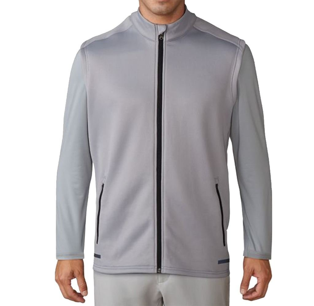 adidas Golf 2017 Mens Thermal Climaheat Hybrid Full Zip Gilet Performance Vest Mid Grey Small