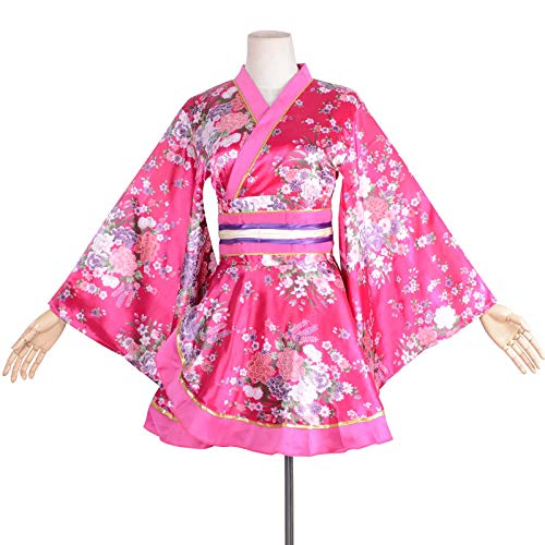 Kimono Bathrobe Costume Japanese Traditional Yukata Cosplay Women's Sexy Sakura Pattern (ROSEO)