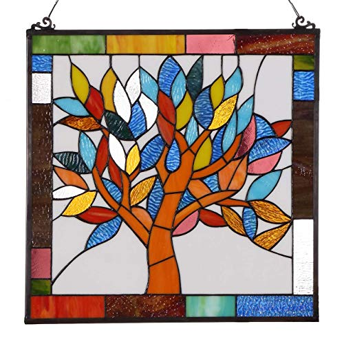es Mystical World Tree Tiffany Style Stained Glass Window Panel with Hanging Chain ()