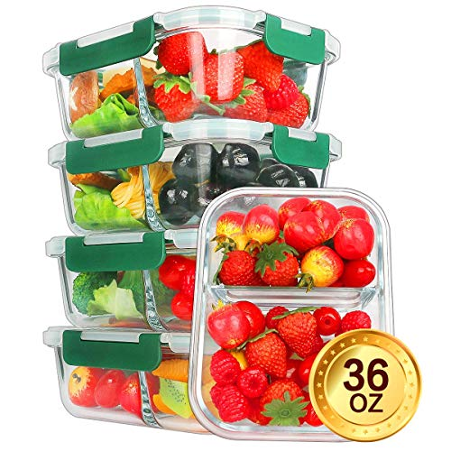 Glass Meal Prep Containers [5-Pack,36oz] - KOMUEE Food Prep Containers 2 Compartment with LIFETIME Lids Meal Prep - Glass Food Storage Containers Airtight - Lunch Containers Portion Control Containers