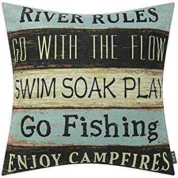 TRENDIN Throw Pillow Case River Rules Cotton Linen Square Cushion Cover Standard Pillowcase for Bedroom Livingroom 18 x 18 inch PL252TR