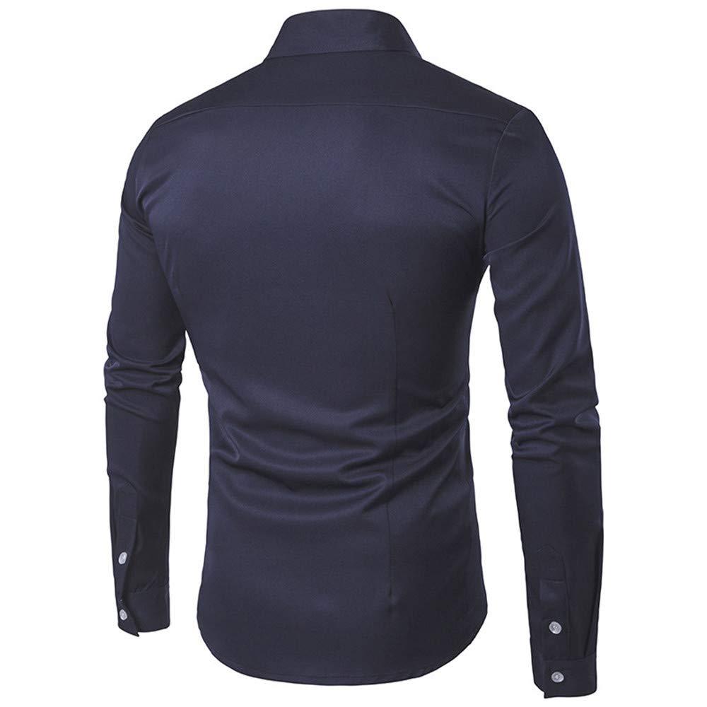 Spring Shirt Men Casual Fashion Cotton Slim Fit Top Long Sleeve Dress Blouse