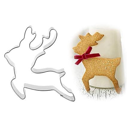 Biniwa - Cortador de galletas de acero inoxidable con diseño de reno de ciervo de Navidad