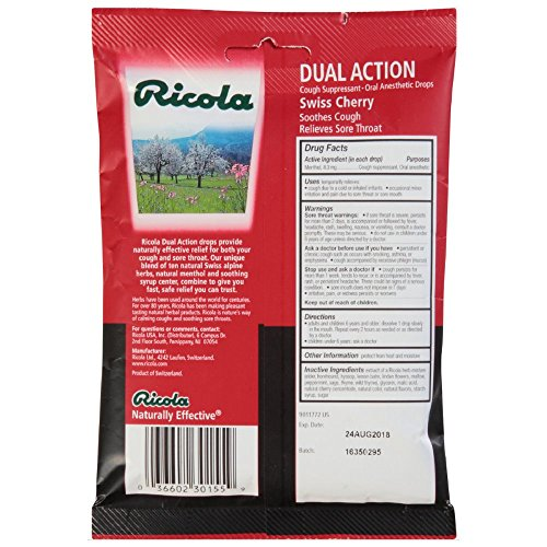 Ricola Dual Action Cgh Dr Size 19ct Ricola Dual Action Cough