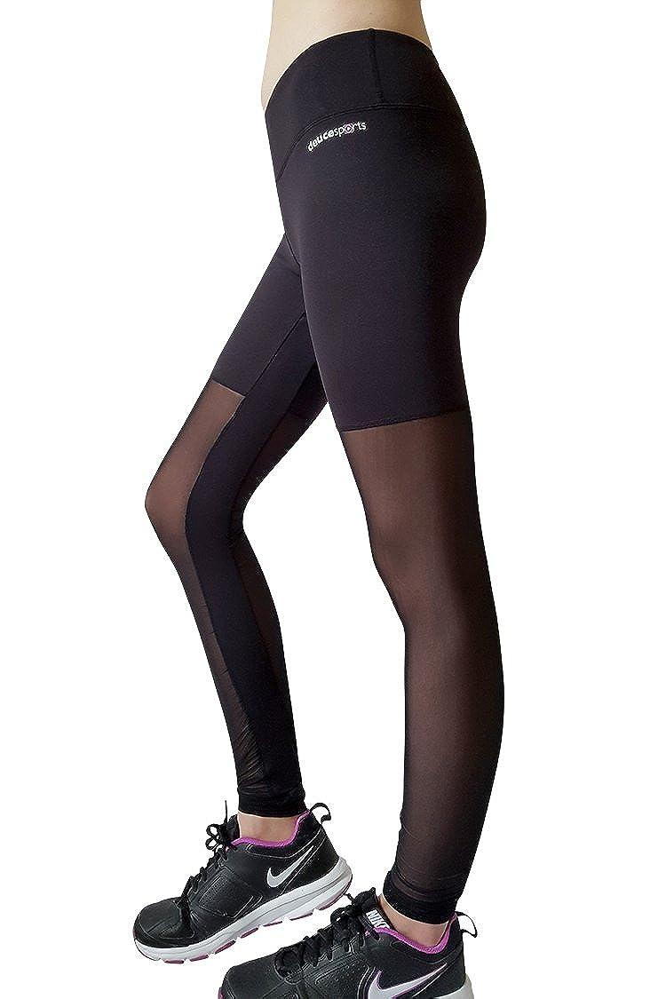 deuce sports Tango Polainas Negro de Malla de Las Mujeres para el  Entrenamiento de Yoga Fitness Gimnasio Corriendo Tenis de Jogging Netball  Voleibol  ... 8f1ea9fb0044