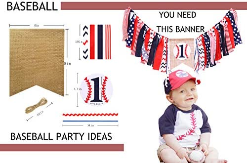 First Birthday Decorations For Baseball Rag Baseball Banner For 1 St Birthday