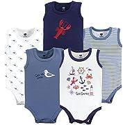 Hudson Baby 5 Pack Sleeveless Cotton Bodysuits, Sea Shore, 9-12 Months (12M)