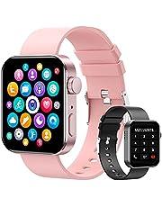 """Smartwatch, 1.72"""" Reloj Inteligente Hombre Mujer Pulsera Actividad, Reloj Inteligente Con Función de llamada Bluetooth y Sms Por Bluetooth, Con Monitor De Frecuencia Cardíaca, Monitor De Calorías, Sueño, Recordatorio Sedentario,Relo Deportivo Pantalla Táctil Completa Compatible con IOS, Android. (Rosa + Negro)"""