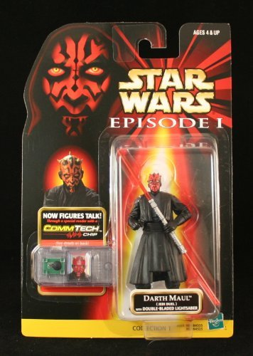Star Wars Darth Maul Jedi Duel with Double-BLADED Lightsaber Episode 1 Action Figure & COMMTECH CHIP