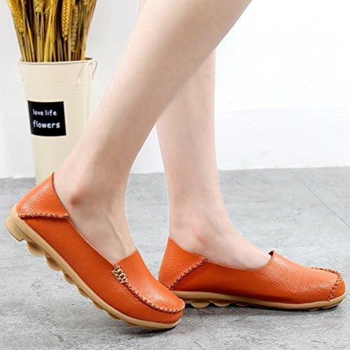 Yixinan Mode Lägenheter Läder Casual Snörskor För Kvinnan Orange2