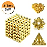 Magnetic Cube, Magnetic Sculpture Toy , adult Fun Office Toy (Gold) 3mm