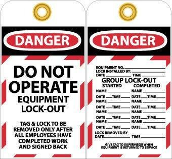 National Marker Company LOTAG13''Danger Do Not Operate Equipment'' Lable, Black, Red, White, Black, Red, White (Pack of 10)