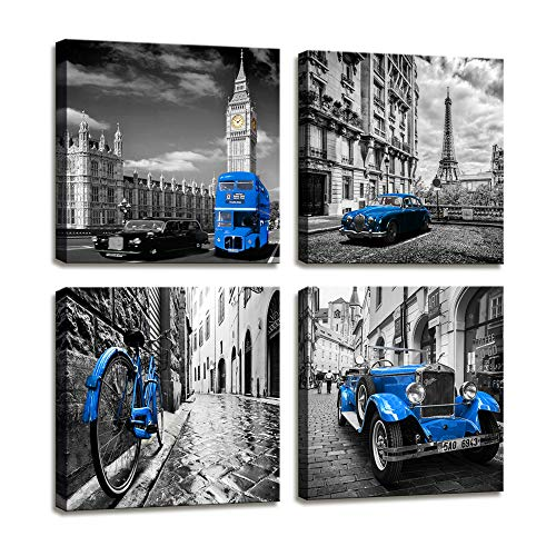Canvas Wall Art Famous Buildings Giclee Canvas Prints Framed Artwork Pictures Wall Art For Home Decor Perfect 4 Panels Cobalt blue Retro Car Wall Decorations For Living Room Bedroom Office Decorations