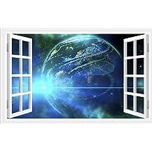 Woaills 3D Star Galaxy Space Sham Window Wall Stickers Rectangular Art PVC Home Decor (E)