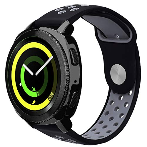 VIGOSS Compatible Gear Sport Band/Galaxy Watch 42mm Band - 20mm Silicone Wristband for Samsung Galaxy Watch 42mm R810 & Gear Sport Smartwatch R600(Black/Grey,L/XL)