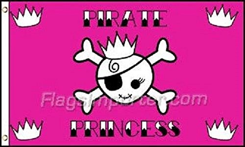 (AES 3x5 Jolly Roger Pirate Pink Princess Flag 3' x 5' House Banner Grommets (FI) House Banner Double Stitched Fade Resistant Premium Quality )