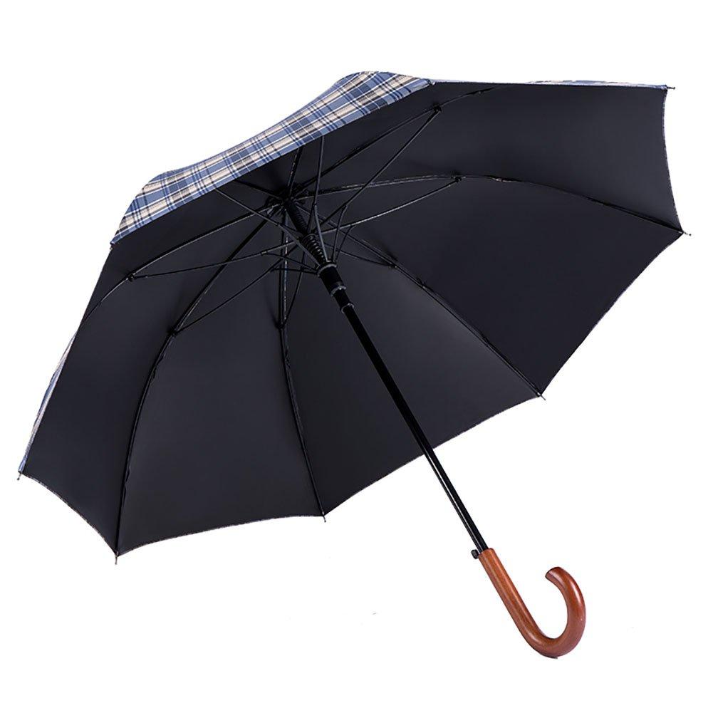 Latticed Pattern Umbrella Long Handle Umbrella Retro Wood Handle Umbrella Man Commercial Style (Color : Blue grid, Design : Long handle)