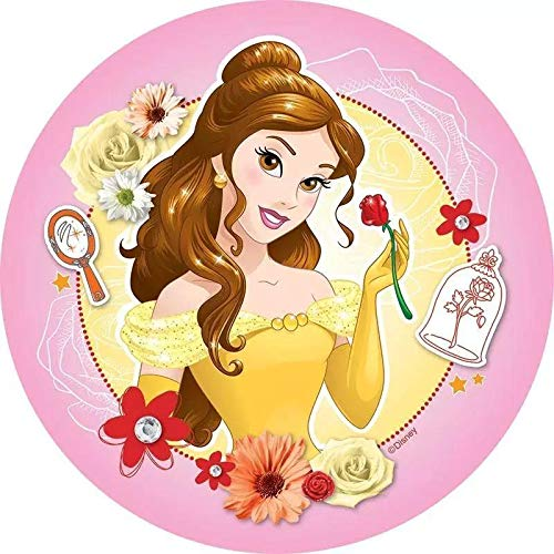 Disney Beauty And The Beast Belle Rose Mirror Flowers Edible Cake Topper Image ABPID27831 - 6