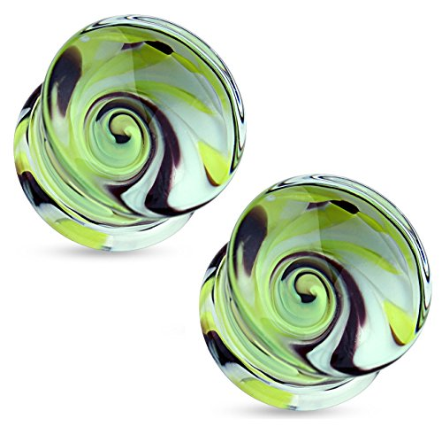 Double Swirl Earrings (Pair of Blue and Yellow Swirl Pyrex Glass Double Flared Ear Plugs ((8mm) 0GA))
