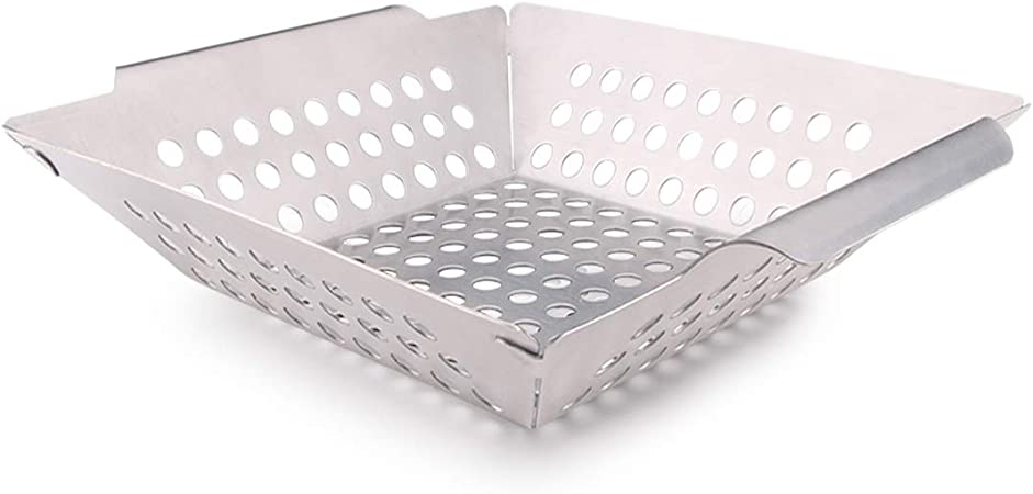 Stainless Steel Barbecue Tray Grilling Basket Premium Quality Nil BBQ Grill Basket for Vegetables /& Meat