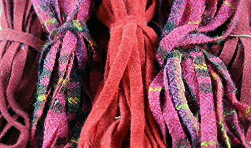 Rug Hooking Wool - 100% Wool Assorted Up-Cycle and New - #8 - Qty 100 - Reds