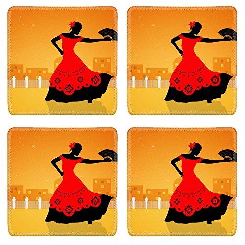 [Liili Square Coasters Image ID 21730599 Illustration of flamenco dancer] (Female Flamenco Dancer Costumes)