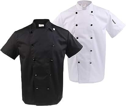 2x Chaqueta de Chef Camisas Uniforme Transpirable Cómodo Elegantes Trajes Ropa Hotel Mujer Hombre - Blanco negro, L: Amazon.es: Ropa y accesorios