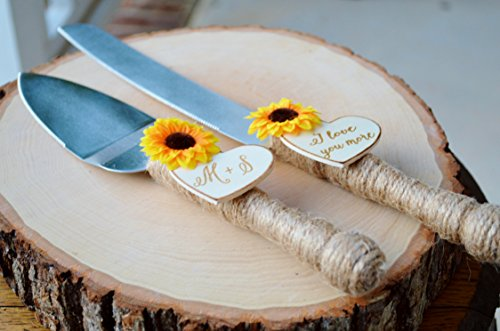 Sunflower Wedding Cake Knife Personalized Wedding Cake Cutter Fall Wedding Cake Cutting Set 3 This sunflower wedding cake knife features twine wrapped handles, silk sunflowers and are customized with two wood burned hearts with your initials and dat