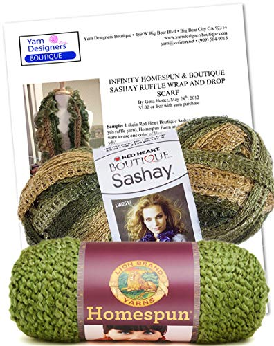 g Kit, Infinity Fluffy Scarf, DIY Knit Scarf (Olive & Conga) ()