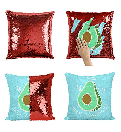 Holy Guacamole P50 Sequin Pillow, Sequin Pillowcase, Funny Pillow, Two color pillow, Present Pillow, Gift her, Gift him, Magic Pillow, [Cover Only] by LumaPillows