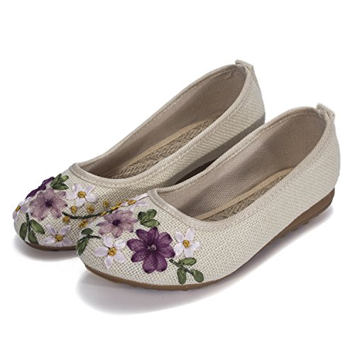 - DODOING Embroidered Chinese Style Flats Ballet Embroidery Crafts Comfortable Slip on Women's Shoes Khaki/White/Deep Blue