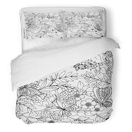 Semtomn Decor Duvet Cover Set Full/Queen Size Coloring Book for Adult and Older Children Page Vintage 3 Piece Brushed Microfiber Fabric Print Bedding Set Cover ()