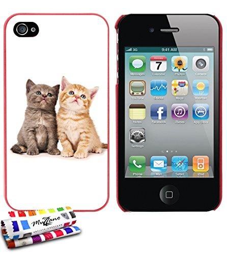 Ultraflache weiche Schutzhülle APPLE IPHONE 4S [Katze] [Rot] von MUZZANO + STIFT und MICROFASERTUCH MUZZANO® GRATIS - Das ULTIMATIVE, ELEGANTE UND LANGLEBIGE Schutz-Case für Ihr APPLE IPHONE 4S