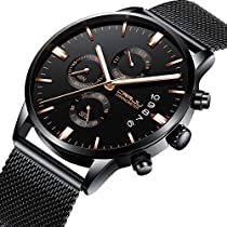 Watches Mens Stainless Steel Band Quartz Analog Wristwatch with Chronograph Waterproof Date Mens Watch